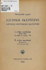 Stenografski zapiski Ljudske skupščine Ljudske republike Slovenije<br />I. redno zasedanje (Drugi sklic) 10. aprila do 8. junija 1951 in II. redno zasedanje (Drugi sklic) 14.decembra 1951