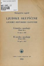 Stenografski zapiski Ljudske skupščine Ljudske republike Slovenije<br />I. izredno zasedanje (Drugi sklic)<br />II. izredno zasedanje (Drugi sklic) 29.aprila 1952