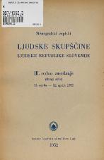 Stenografski zapiski Ljudske skupščine Ljudske republike Slovenije<br />III. redno zasedanje (Drugi sklic) 11. aprila - 12.aprila 1952