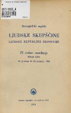 Stenografski zapiski Ljudske skupščine Ljudske republike Slovenije<br />IV. redno zasedanje (Drugi sklic) 28. januarja do 30. junarja 1953