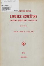 Stenografski zapiski Ljudske skupščine Ljudske republike Slovenije<br />(Tretji sklic)<br />Seje od 1. marca do 31. maja 1954