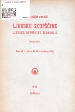 Stenografski zapiski Ljudske skupščine Ljudske republike Slovenije<br />(Tretji sklic)<br />Seje od 1. junija do 31. decembra 1954