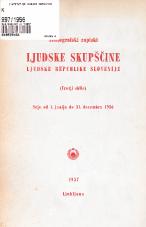 Stenografski zapiski Ljudske skupščine Ljudske republike Slovenije<br />(Tretji sklic)<br />Seje od 1. junija do 31. decembra 1956