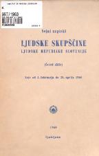 Stenografski zapiski Ljudske skupščine Ljudske republike Slovenije<br />(Četrti sklic)<br />Seje od 1. februarja do 30. aprila 1960