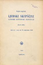 Stenografski zapiski Ljudske skupščine Ljudske republike Slovenije<br />(Četrti sklic)<br />Seje od 1. maja do 30. septembra 1960