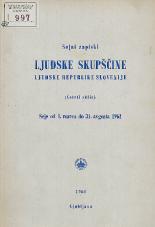 Stenografski zapiski Ljudske skupščine Ljudske republike Slovenije<br />(Četrti sklic)<br />Seje od 1. marca do 31. avgusta 1961