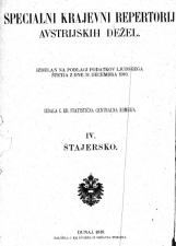 Specialni krajevni repertorij avstrijskih dežel<br />Specialni krajevni repertorij za Štajersko<br />Izdelan na podlagi podatkov ljudskega štetja z dne 31. decembra 1910<br />Izdala C.kr. statistična centralna komisija