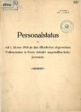 Personalstatus der mit 1. Jänner 1918 an den öffentlichen allgemeinen Volksschulen in Krain definitive angestellten Lehrpersonen 1918
