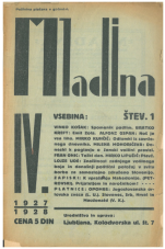 Mladina, 1927, št. 1