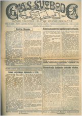 Glas svobode 1923 št. 27<br />Glasilo Nezavisne delavske stranke Jugoslavije