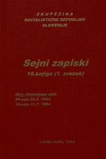 Sejni zapisi Skupščine Socialistične republike Slovenije za 9. sklic (1982-1986), št. zvezka  18<br />Vsebina: 18.knjiga (1.zvezek)<br />Zbor združenega dela,  35. seja (20. junija 1984)<br />Zbor združenega dela,  36. seja (11. julija 1984)