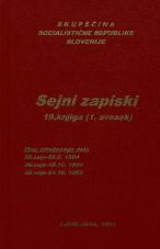 Sejni zapisi Skupščine Socialistične republike Slovenije za 9. sklic (1982-1986), št. zvezka  23<br />Vsebina: 19.knjiga (1.zvezek)<br />Zbor združenega dela,  38. seja (26. septembra 1984)<br />Zbor združenega dela,  39. seja (10. oktobra 1984)<br />Zbor združenega dela,  40. seja (24. oktobra 1984)