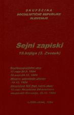 Sejni zapisi Skupščine Socialistične republike Slovenije za 9. sklic (1982-1986), št. zvezka  25<br />Vsebina: 19.knjiga (3.zvezek)<br />Družbenopolitični zbor,  37. seja (26. septembra 1984)<br />Družbenopolitični zbor,  38. seja (24. oktobra 1984)<br />Skupno zasedanje,  (10. oktobra 1984)<br />Skupščina Zdravstvene skupnosti Slovenije,  12. seja (25. oktobra 1984)