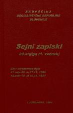 Sejni zapisi Skupščine Socialistične republike Slovenije za 9. sklic (1982-1986), št. zvezka  26<br />Vsebina: 20.knjiga (1.zvezek)<br />Zbor združenega dela,  41. seja (26. novembra 1984)<br />Zbor združenega dela - nadaljevanje seje,  41. seja (27. novembra 1984)<br />Zbor združenega dela,  42. seja (19. decembra 1984)<br />Zbor združenega dela  - nadaljevanje seje,  42. seja (20. decembra 1984)
