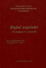 Sejni zapisi Skupščine Socialistične republike Slovenije za 9. sklic (1982-1986), št. zvezka  29<br />Vsebina: 21.knjiga (1.zvezek)<br />Zbor združenega dela,  43. seja (26. decembra 1984)