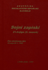 Sejni zapisi Skupščine Socialistične republike Slovenije za 9. sklic (1982-1986), št. zvezka  30<br />Vsebina: 21.knjiga (2.zvezek)<br />Zbor združenega dela,  44. seja (30. januarja 1985)