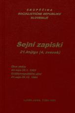 Sejni zapisi Skupščine Socialistične republike Slovenije za 9. sklic (1982-1986), št. zvezka  32<br />Vsebina: 21.knjiga (4.zvezek)<br />Zbor občin,  44. seja (30. januarja 1985)<br />Družbenopolitični zbor,  41. seja (26. decembra 1984)