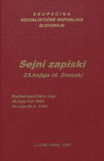 Sejni zapisi Skupščine Socialistične republike Slovenije za 9. sklic (1982-1986), št. zvezka  42<br />Vsebina: 23.knjiga (4.zvezek)<br />Družbenopolitični zbor,  45. seja (3. junija 1985)<br />Družbenopolitični zbor,  46. seja (26. junija 1985)