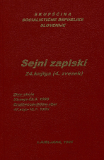 Sejni zapisi Skupščine Socialistične republike Slovenije za 9. sklic (1982-1986), št. zvezka  47<br />Vsebina: 24.knjiga (4.zvezek)<br />Zbor občin,  53. seja (25. septembra 1985)<br />Družbenopolitični zbor,  47. seja (10. julija 1985)