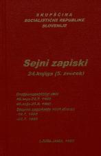 Sejni zapisi Skupščine Socialistične republike Slovenije za 9. sklic (1982-1986), št. zvezka  48<br />Vsebina: 24.knjiga (5.zvezek)<br />Družbenopolitični zbor,  48. seja (24. julija 1985)<br />Družbenopolitični zbor,  49. seja (25. septembra 1985)<br />Skupno zasedanje,  (10. julija 1985)<br />Skupno zasedanje,  (24. julija 1985)