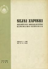 Sejni zapiski Skupščine Socialistične republike Slovenije<br />Seje od 1. I. 1966 do 28. II. 1966