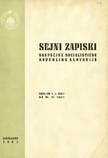 Sejni zapiski Skupščine Socialistične republike Slovenije<br />Seje od 1. I. 1967 do 28. II. 1967