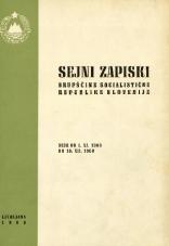Sejni zapiski Skupščine Socialistične republike Slovenije<br />Seje od 1. XI. 1968 do 10. XII. 1968