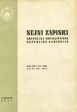 Sejni zapiski Skupščine Socialistične republike Slovenije<br />Seje od 1. XII. 1966 do 31. XII. 1966