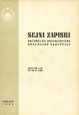Sejni zapiski Skupščine Socialistične republike Slovenije<br />Seje od 1. IV. do 30. IV. 1964
