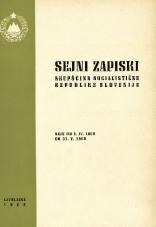 Sejni zapiski Skupščine Socialistične republike Slovenije<br />Seje od 1. IV. 1968 do 31. V. 1968