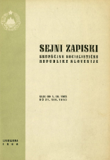 Sejni zapiski Skupščine Socialistične republike Slovenije<br />Seje od 1. VII. 1965 do 31. VIII. 1965