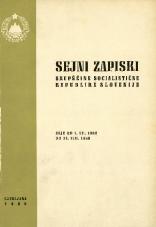 Sejni zapiski Skupščine Socialistične republike Slovenije<br />Seje od 1. VII. 1968 do 31. VIII. 1968