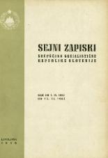 Sejni zapiski Skupščine Socialistične republike Slovenije<br />Seje od 1. IX. 1965 do 15. XI. 1965
