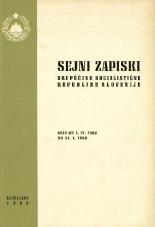 Sejni zapiski Skupščine Socialistične republike Slovenije<br />Seje od 1. IX. 1968 do 31. X. 1968