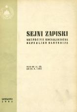 Sejni zapiski Skupščine Socialistične republike Slovenije<br />Seje od 11. VII. do 31. X. 1964