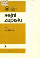 Sejni zapiski Skupščine Socialistične republike Slovenije, št. 7<br />Seje od 17. januarja 1983 do 16. marca 1983<br />Sejni zapiski Skupščine Socialistične republike Slovenije, no. 7