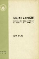 Sejni zapiski Skupščine Socialistične republike Slovenije<br />Seje od 29. III. 1965 do 28. IV. 1965
