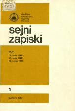 Sejni zapiski Skupščine Socialistične republike Slovenije, št. 1<br />Seje 7. maja 1982, 19. maja 1982, 16. junija 1982<br />Sejni zapiski Skupščine Socialistične republike Slovenije, no. 1
