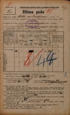Popis prebivalstva 20. 12. 1921<br />Ljubljana<br />Cesta na Kodeljevo 1<br />Population census 20 December 1921