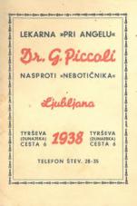 "Koledar 1938<br />Lekarna ""Pri Angelu"", dr. G. Piccoli, nasproti nebotičnika"