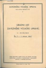 Uradni list Zavezniške vojaške uprave, II. zvezek (januar-september 1947)