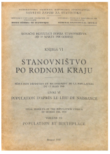 Population by birthplace<br />Final results of the population census of March 15th 1948<br />Volume VI<br />Stanovništvo po rodnom kraju<br />Konačni rezultati popisa stanovništva od 15 marta 1948 godine<br />Knjiga VI