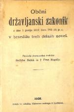 Občni državljanski zakonik z dne 1. junija 1811 štev. 946 zb. p. z. v besedilu treh delovnih novel
