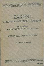 Nezavisna država Hrvatska<br />Zakoni, zakonske odredbe i naredbe i. t. d.<br />Proglašene od 1. svibnja do 12. svibnja 1942.<br />Knjiga XVI<br />(svezak 151.-160.)