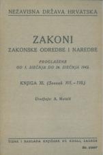 Nezavisna država Hrvatska<br />Zakoni, zakonske odredbe i naredbe i. t. d.<br />Proglašene od 1. siečnja do 26. siečnja 1942.<br />Knjiga XI.<br />(svezak 101.-110.)