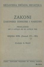 Nezavisna država Hrvatska<br />Zakoni, zakonske odredbe i naredbe i. t. d.<br />Proglašene od 2. lipnja do 22. lipnja 1942.<br />Knjiga XVIII.<br />(svezak 171.-180.)