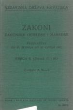 Nezavisna država Hrvatska<br />Zakoni, zakonske odredbe i naredbe i. t. d.<br />Proglašene od 27. svibnja do 30. lipnja 1941.<br />Knjiga II.<br />(svezak 11.-20.)