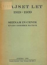 Dvajset let 1919-1939: seznam in cenik knjig Goriške matice