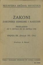 Nezavisna država Hrvatska<br />Zakoni, zakonske odredbe i naredbe i. t. d.<br />Proglašene od 7. srpnja do 25. srpnja 1942.<br />Knjiga XX<br />(svezak 191.-200.)