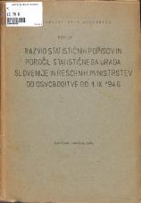Razvid statističnih popisov in poročil Statističnega urada Slovenije in resornih ministrstev od osvoboditve do 1.IX.1946